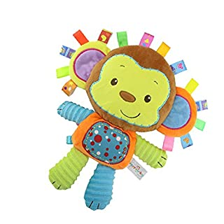 StoHua Monkey Taggie Activity Blanket and Sensory Toy Baby Gifts for Newborns Baby,Infant,Lovey Soft Toy - Clam Down and Play Your Baby, Baby taggy Toy