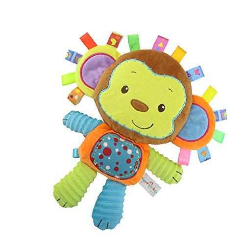 (StoHua Monkey Taggie Activity Blanket and Sensory Toy Baby Gifts for Newborns Baby,Infant,Lovey Soft Toy - Clam Down and Play Your Baby, Baby taggy Toy)