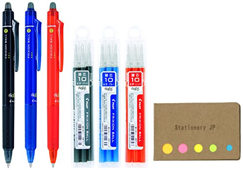 Pilot FriXion Ball Knock Retractable Erasable Gel Ink Pens, Bold Point 1.0mm, Black/Blue/Red Ink, 3 Pens, 9 Refills, Sticky Notes Value Set