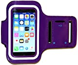 iPhone 5/5S/5c SE Running & Exercise Armband with Key Holder & Reflective Band   Also Fits iPhone 4/4S (Purple)