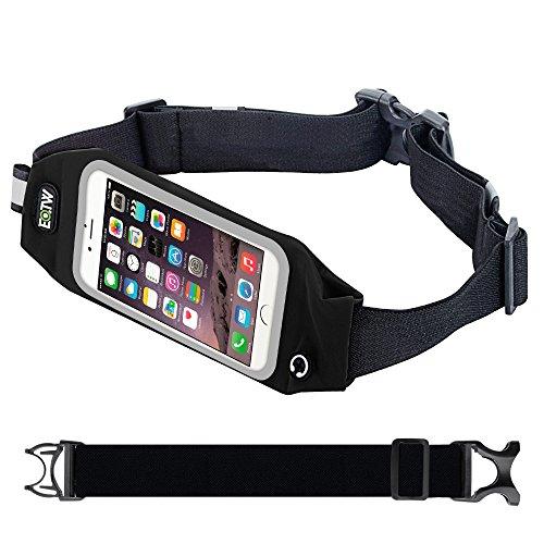 EOTW Gürteltasche Passend für Smartphones wie z.B. Apple, Samsung, HTC, usw. In Verschiedenen Farben und Größen, Hüfttaschen mit Touch-Sensitivem Fenster; für Sportliche Aktivitäten und Urlaub (Schwarz 4,7 Zoll)