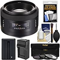 Sony Alpha A-Mount 50mm f/1.4 Lens with Battery & Charger + 3 Filters + Kit for A37, A58, A65, A68, A77 II, A99 Cameras