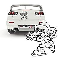 Schlittschuh Kind Wintersticker Autoaufkleber Junge läuft auf Eis Folienplot...