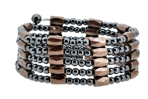 - Brown Magnetic Simulated Hematite Beaded Necklace, Wrap Bracelet, Anklet