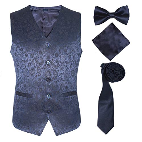 British Slim Fit Suit Vest for Guys on Formal or Informal Occasions,Blue,5XL]()