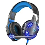PC Hardware : VersionTech G2000 PC Gaming Headset with Volume Control, Stereo Over Ear Headphones with Microphone, Led lights for Laptop Notebook Desktop Computer Gamer - Blue