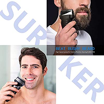 SURKER Beard Trimmer Men's Electric Foil Shavers Razor Electric Travel Shaver USB Charger Dry/Wet Lithium Battery Grooming Kit Waterproof Rechargeable LCD Display Travel Pouch Best Gift Black