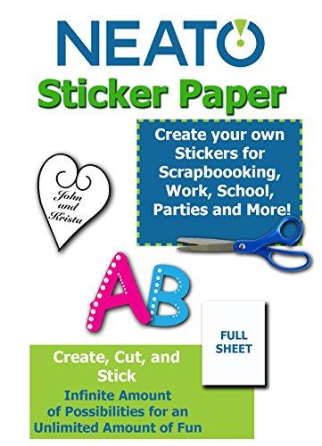 Inkjet Stickers Bumper (NEATO Printable Sticker Paper - Full Blank Sheet - White Matte - For Inkjet/Laser Printers - 8.5