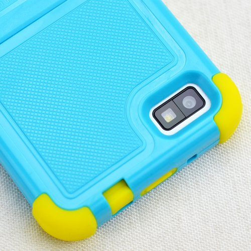 Beyond Cell Tri Shield Case for BlackBerry Z10 - Retail Packaging - Light Blue/Yellow (Yellow Blackberry Faceplates)
