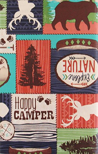 Lodge Happy Camper Patchwork Vinyl Flannel Back Tablecloth (52