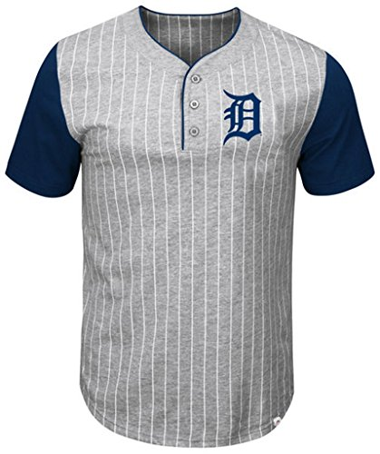 Pinstripe Henley Tee (VF Detroit Tigers MLB Mens Majestic Life Or Death Pinstripe Henley Shirt Gray Big & Tall Sizes (4XT))