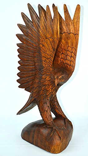 Hand Carved Wood Statue (LARGE HAND CARVED MAHOGANY WOOD Bald EAGLE, 20 in TALL Indian Cowboy Horse)
