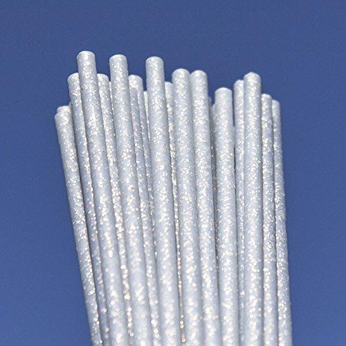 Silver Fairy Dust Plastic Lollipop Cakepop Sticks 150mm x 4.5mm x50 Glitter Yolli