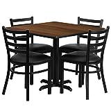 Flash Furniture 36'' Square Walnut Laminate Table Set with 4 Ladder Back Metal Chairs - Black Vinyl Seat