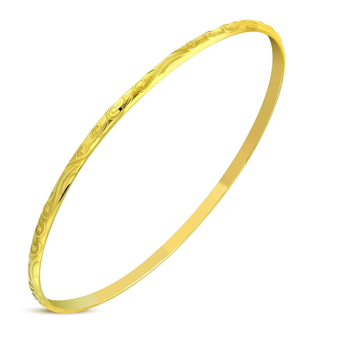Stainless Steel Gold Color Plated Engraved Skinny Round Bangle Length 9.2