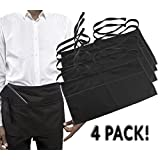 """3-Pocket Black Waist Aprons (4-Pack); Restaurant Quality Utility Half Aprons for Servers, Craftspeople, Chef, Baker, Bartender to Hold Checks, Tips, Tools & More, 24"""" Wide by 12"""" Long Apron"""