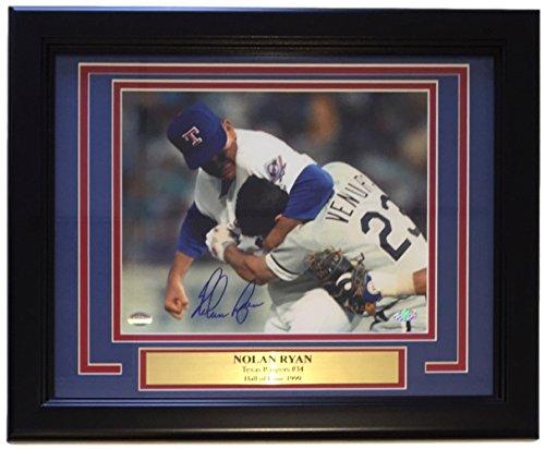Nolan Ryan Signed Framed 8x10 Texas Rangers Ventura Fight Photo SI+Ryan (Nolan Ryan Hand Signed Baseball)