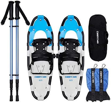 Carryown 4-in-1 Xtreme Lightweight Terrain Snowshoes Set for Adults Men Women Kids, Light Weight Aluminum Alloy Terrain Snow Shoes with Trekking Poles and Waterproof Leg Gaiters, 14 21 25 30