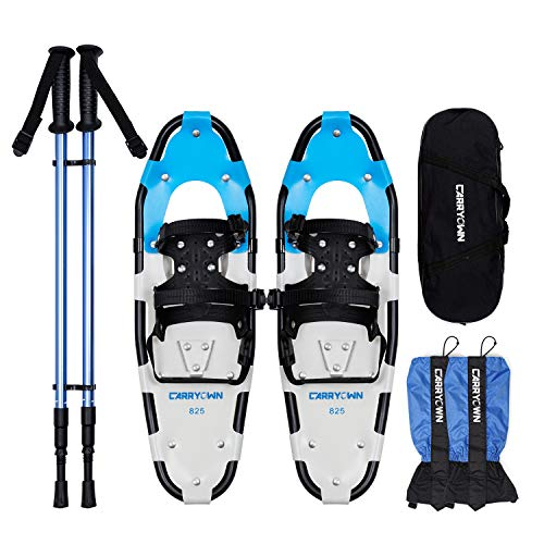 "Carryown 4-in-1 Snowshoes Snow Shoes Set 14"" /21""/ 25""/ 30"" for Adults Men Women Youth Kids Boys Girls with Antishock Poles, Free Leg Gaiters, Free Carrying Tote Bag"