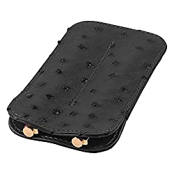 Leather Double Pen Sleeve, Ostrich Leather, Black, Fits 2 Pens