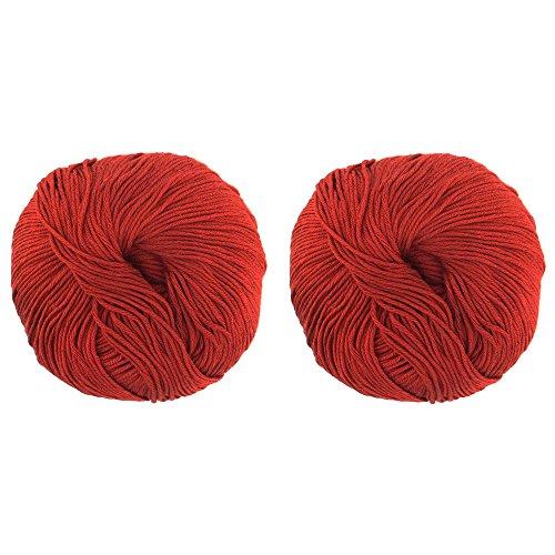 JubileeYarn Bamboo Cotton Blend Sport 4 Ply Yarn - 100g/skein - Red Hot Red - 2 ()