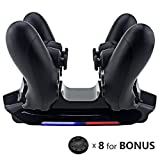 Dinly PS4 Wireless Controller Charger for Playstation 4 / Pro / Slim, Dualshock Charging Dock Station with 8 Silicone Thumb Grips & 4 Dongles, Built-in Intelligent LED Indicator & Easy Charging Ports Review