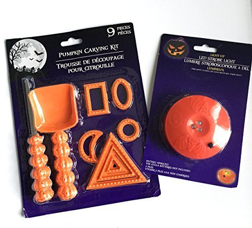 Bundle 9 Piece Pumpkin Carving Kit Tool Set Halloween Party Stencils Cutter Scooper and 1 LED Strobe Light]()