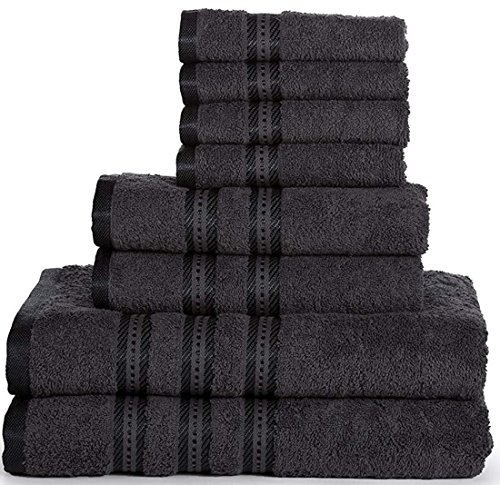 (Casa Lino -100%Cotton, Fade Resistant, Highly Absorbent, 8 Piece towel set, 2 Bath towels, 2 Hand Towels, 4 Washcloths, Machine washable, Hotel quality, Soft absorbent Towel Gift Set -Diana collection)