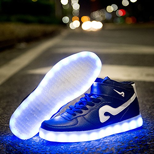 Mannen Vrouwen Mode Lichtgevende Schoenen Hoge Top Led-verlichting Usb Opladen Kleurrijke Schoenen Zwart