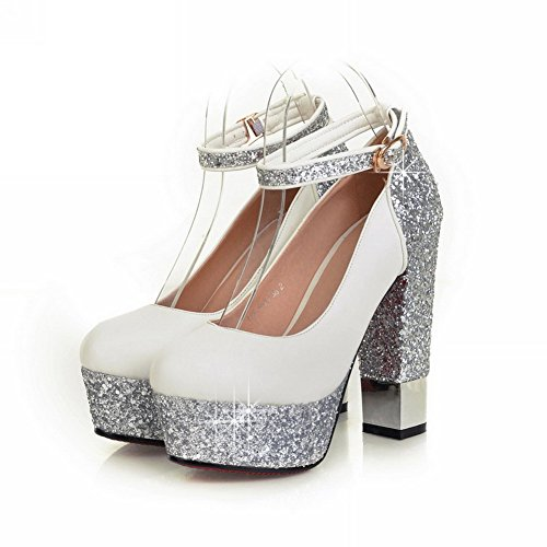 VogueZone009 Womens Closed Round Toe High Heel Platform PU Soft Material Assorted Colors Pumps with Sequin, White, 3.5 UK