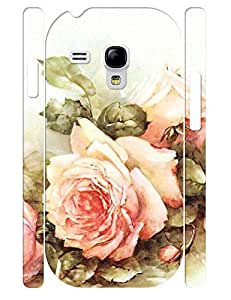 Cute Roses Bloom Pattern Treasure Design Handmade Cell Phone Protective Cover Case for Samsung Galaxy S3 Mini I8200