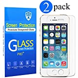 [2 Pack]iPhone 5S Screen Protector, Auto Defend 0.3mm 9H Tempered Shatterproof Glass Screen Protector for iPhone 5S / SE / 5C / 5 High Definition