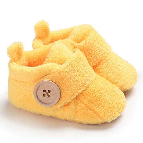 cinnamou Schöne Kleinkind erste Wanderer - Baby Snow Button Stiefel - Runde Zehe Wohnungen weiche Hausschuhe Schuhe Gelb
