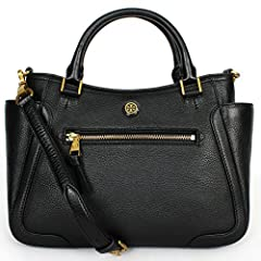 """Tory Burch Frances Small Satchel in soft pebbled leather. Magnetic snap closure. Double top handles, 4.5"""" drop. Removable, adjustable cross-body strap with 23.3"""" drop. Exterior front zip compartment, two side open pockets. Interior zipper poc..."""