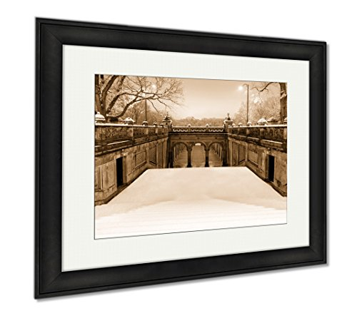 Ashley Framed Prints Pedestrian Tunnel Under Terrace Drive, Wall Art Home Decoration, Sepia, 26x30 (frame size), Black Frame, - Shops Promenade Mall