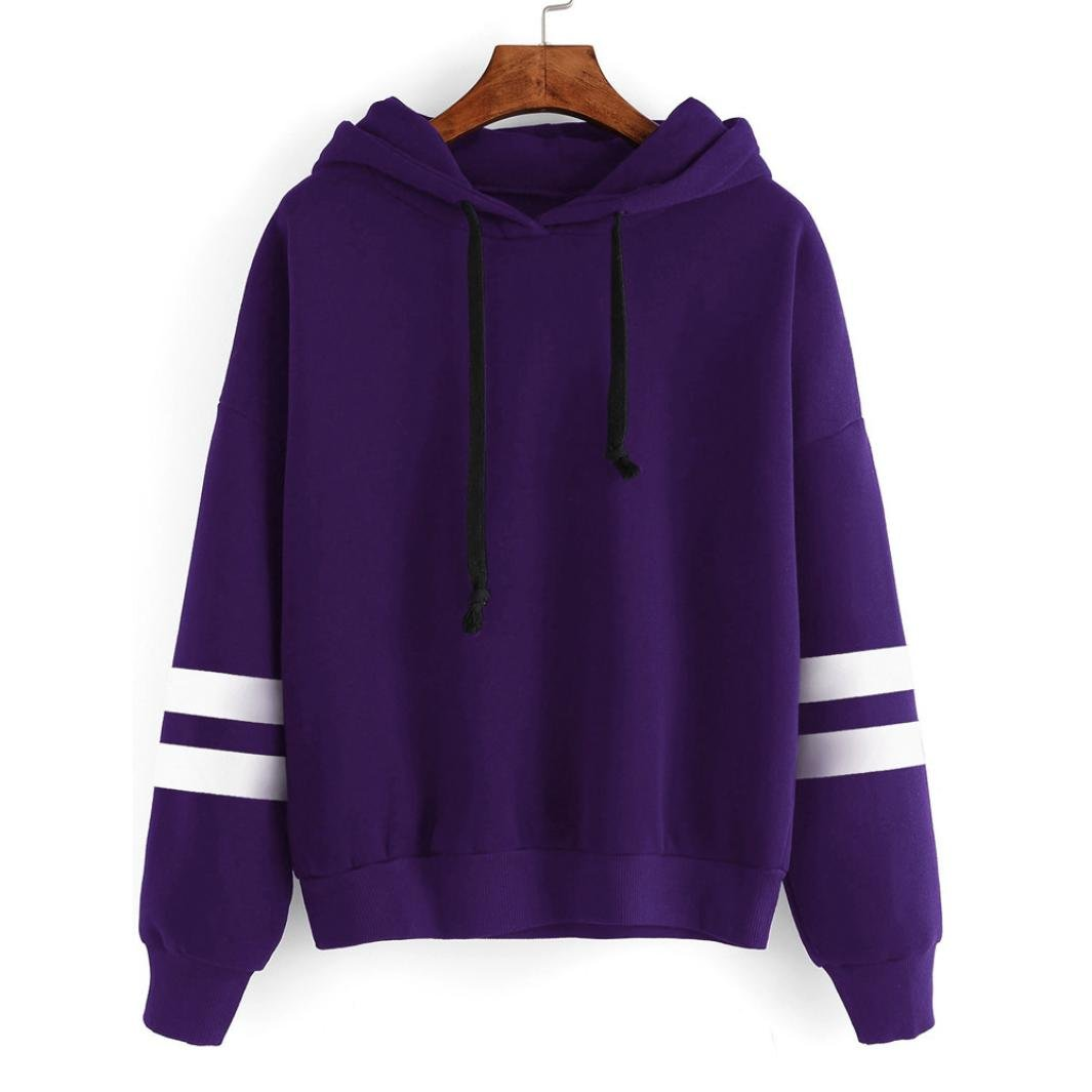 OWMEOT Womens Girls Lovely I Am a Cat Hooded Long Sleeve Cotton Sweatshirt Casual Hoodie Sport Pullover Tops (Purple, L)
