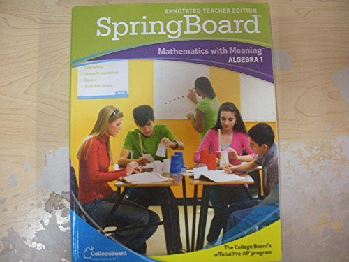 Download Spring Board - Mathematics with Meaning Algebra 1 - Annotated Teacher Edition pdf