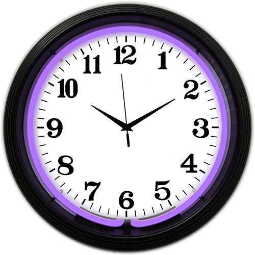 Neonetics Bar and Game Room Neon Alphanumeric Wall Clock with Purple Neon and Black Rim, 15-Inch -