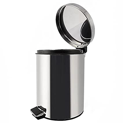 Juvale Stainless Steel Trash Can   Step Trash And Recycling Bin For  Kitchen, Bathroom,