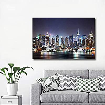 City Skyline - New York City Manhattan Skyline Panorama at Night Over Hudson - 12x18
