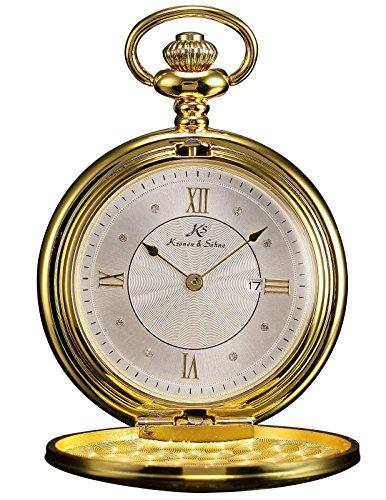 Ks KSP029-US2 Men's Gold Skeleton Alloy Case Day White Roman Numeral Dial Quartz Pocket Watch
