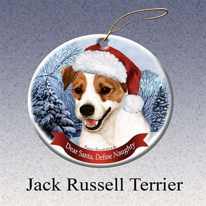 Pet Gifts USA Dog in Santa Hat Porcelain Hanging Howliday Ornament (Jack Russell)