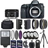 Canon EOS 6D Mark II Digital SLR Camera + 50mm f/1.8 STM Lens + 2 X 32GB + Telephoto + Wide-Angle Lens + Filters + Flash + Case + Tripod - International Version (No Warranty)