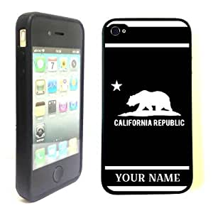 SudysAccessories Personalized Customized Custom California Republic Black ThinShell Case Protective iPhone 4 Case iPhone 4S Case-Personalized For FREE(Send us an Amazon email after purchase with your choice of NAME)