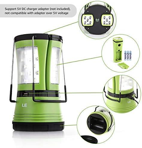 LE Lámpara de Cámping LED, 600 lúmenes, con 2 Antorchas Desmontables, USB Recargable y Con Pilas, Farol Cámping Resistente al Agua, Luz de Trabajo ...