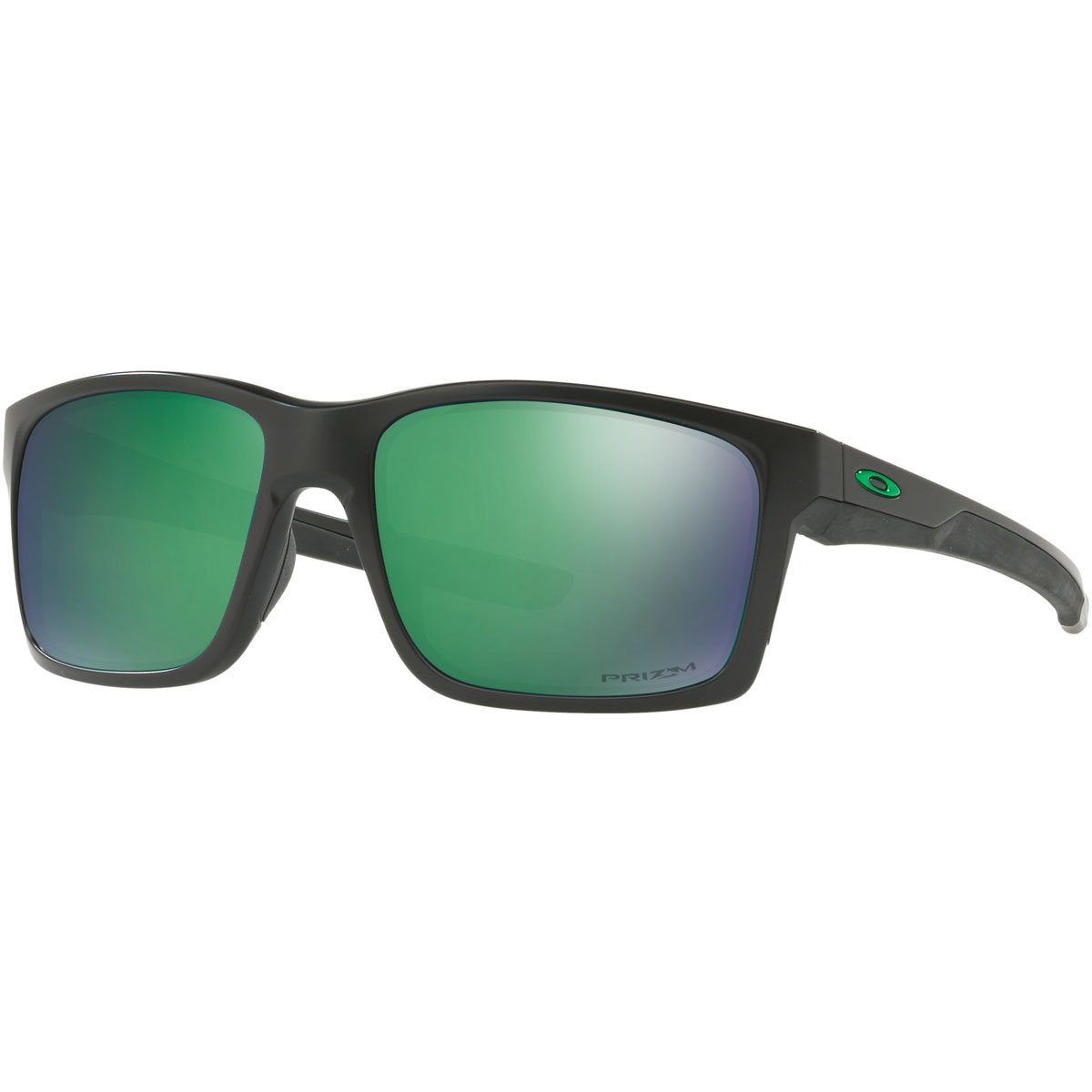 Oakley Men's OO9264 Mainlink Rectangular Sunglasses, Matte Black/Prizm Jade Polarized, 57 mm by Oakley