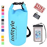 LED Camping Lantern - Waterproof Dry Bags - Floating Compression Stuff Sacks Gear Backpacks for Fishing Boating Kayaking Canoeing Snowboarding - Free Universal Water Proof Phone Case and Pocket Tool (Light Blue, 20L)