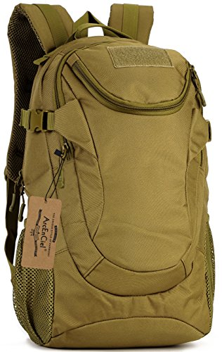 ArcEnCiel Motorcycle Backpack Tactical Military Bag Army Assault Pack Rucksacks for Outdoor Hiking Camping Trekking Hunting - Rain Cover Included (Coyote Brown)