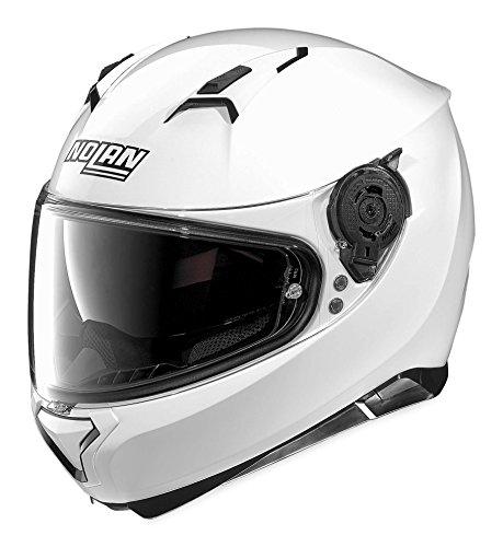 Nolan Unisex Adult N87 Metallic White Full Face Helmet - Motorcycle Helmets Nolan
