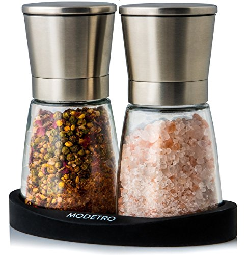- Salt and Pepper Mills with Silicon Stand (2 pcs) - Premium Set of Salt and Peppercorn Grinders with Adjustable Ceramic Coarseness - Brushed Stainless Steel and Glass Body Grinder Set